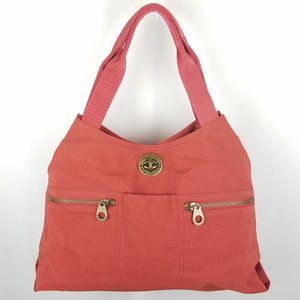 Baggalini bag red/orange fabric lrg shoulder NWOT